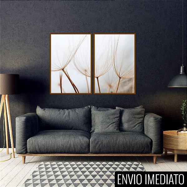 Conjunto com 02 quadros decorativos Dente-de-leão II 50x70cm (LxA) Moldura Preta