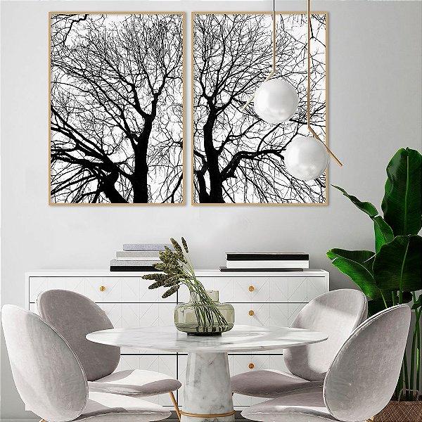 Conjunto com 02 quadros decorativos Natureza em P&B