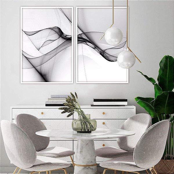 Conjunto com 02 quadros decorativos Abstrato Preto & Branco