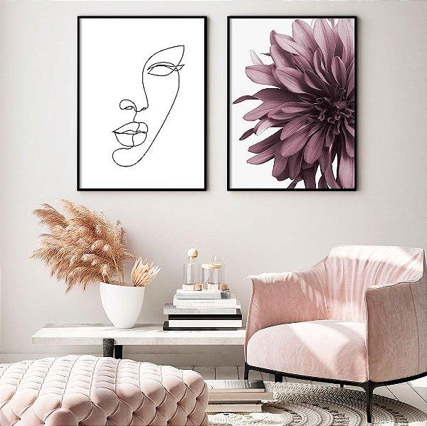 Conjunto com 02 quadros decorativos Femme 50x70cm (LxA) Moldura Preta