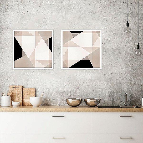 Conjunto com 02 quadros decorativos Geométrico Abstrato 40x40cm (LxA) Moldura Branca