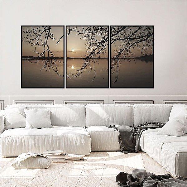 Conjunto com 03 quadros decorativos Pôr do Sol 40x60cm (LxA) Moldura Preta