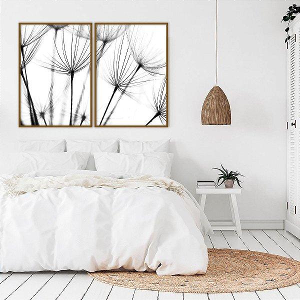 Conjunto com 02 quadros decorativos Dente-de-leão 50x70cm (LxA) Moldura Preta