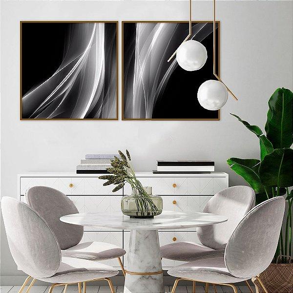 Conjunto com 02 quadros decorativos Abstrato