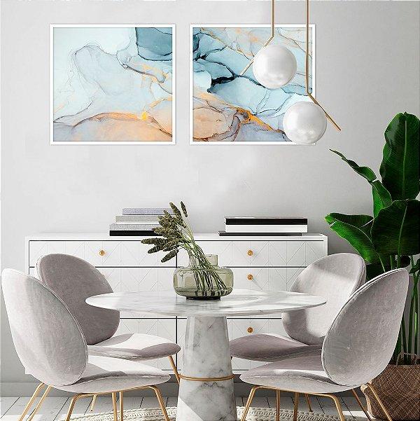 Conjunto com 02 quadros decorativos Abstract Gold 40x40cm (LxA) Moldura Branca