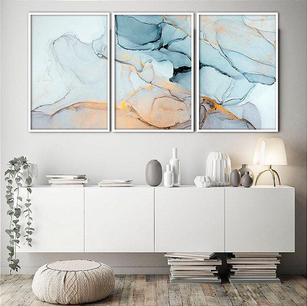 Conjunto com 03 quadros decorativos Abstrato Gold 40x60cm (LxA) Moldura Preta