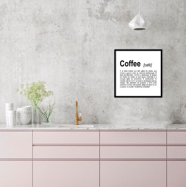 Quadro decorativo Coffee 40x40cm (LxA) Moldura Preta