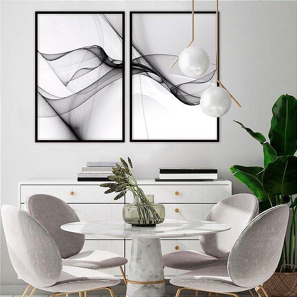 Conjunto com 02 quadros decorativos Abstrato Preto e Branco 50x70cm (LxA) Moldura Preta