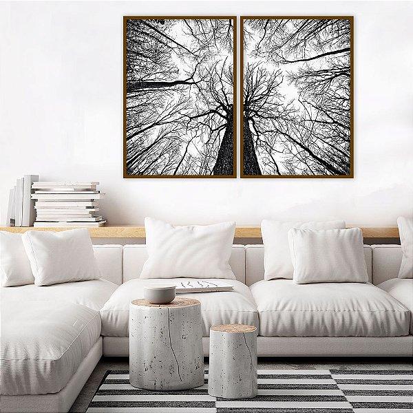 Conjunto com 02 quadros decorativos Nature 50x70cm (LxA) Moldura Preta