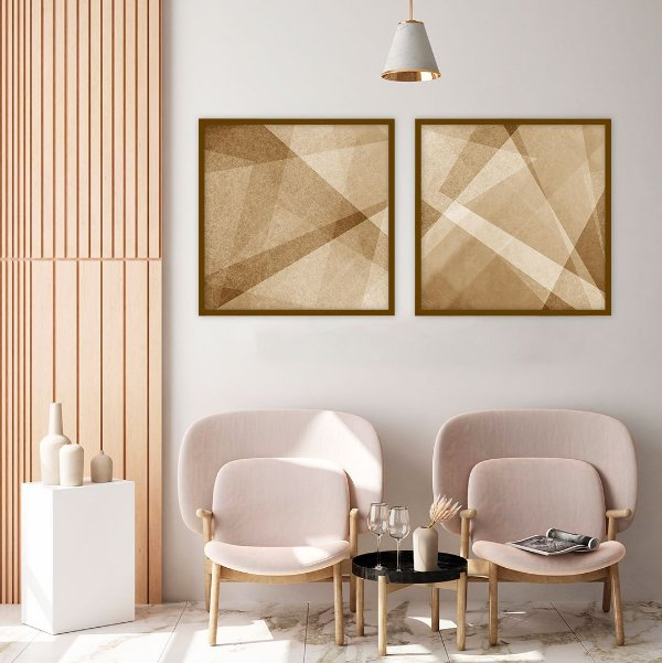 Conjunto com 02 quadros decorativos Geometric Design