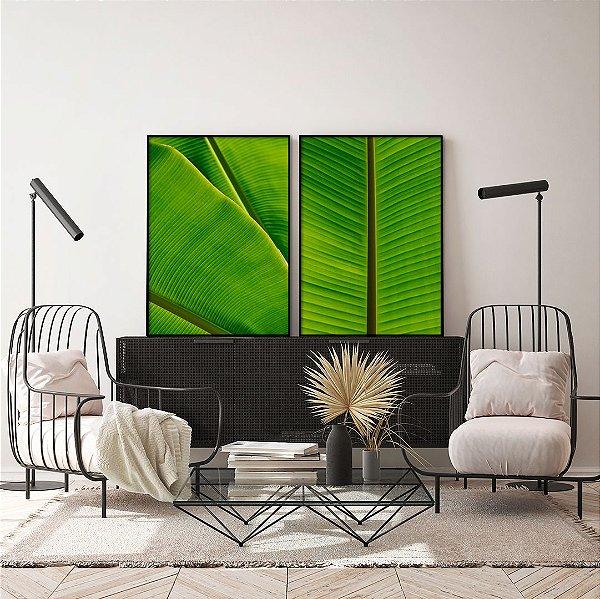 Conjunto com 02 quadros decorativos Folhas de Bananeira