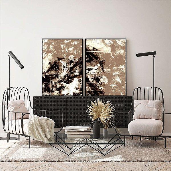 Conjunto com 02 quadros decorativos Abstrato Marrom