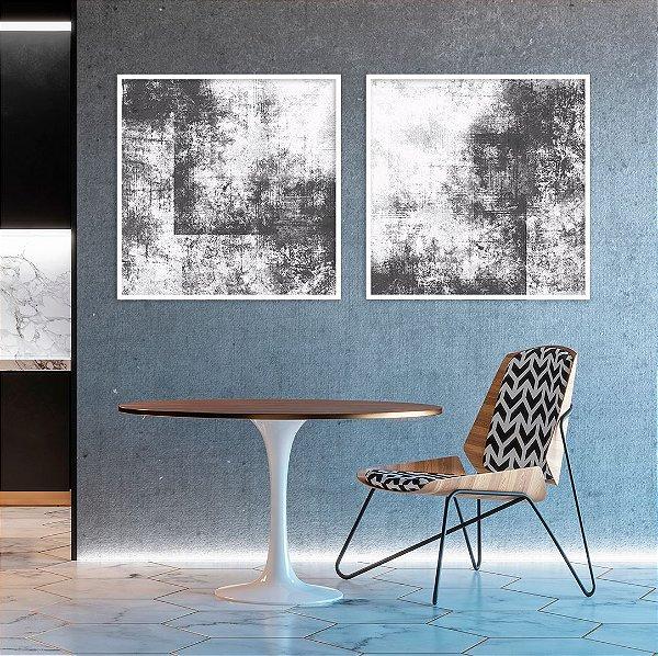 Conjunto com 02 quadros decorativos Abstrato Cinza