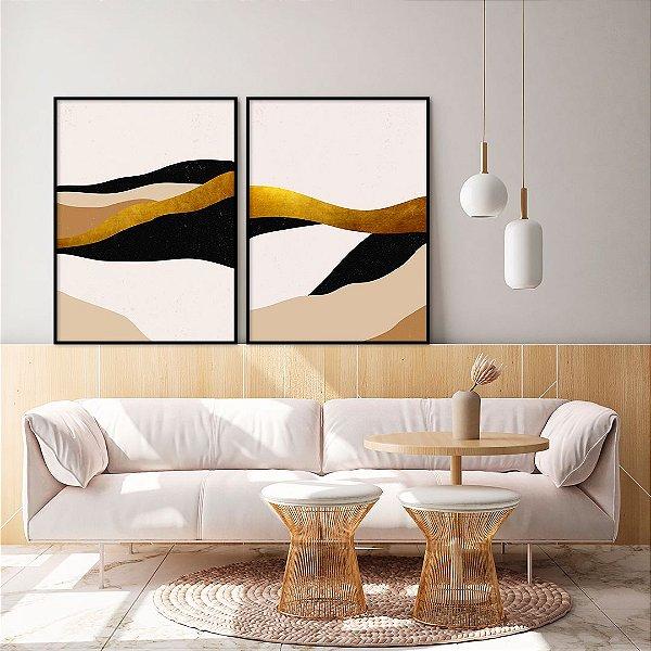 Conjunto com 02 quadros decorativos Abstrato Bege, Preto e Dourado
