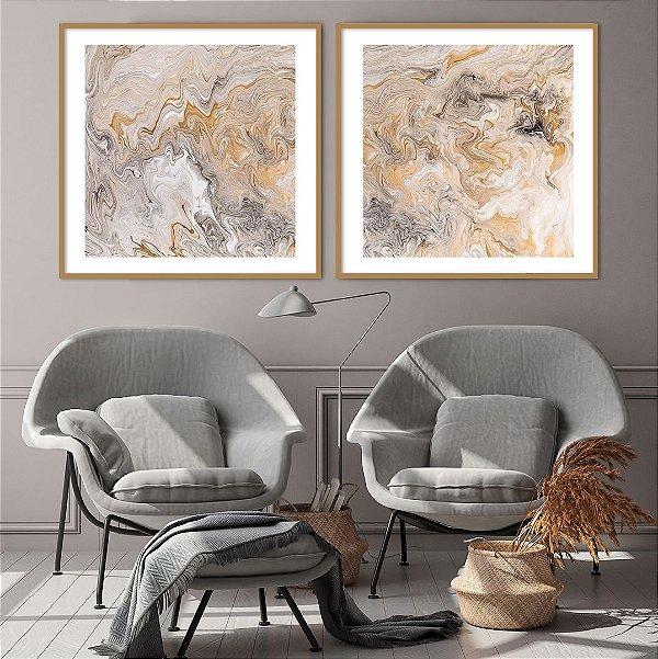 Conjunto com 02 quadros decorativos Arte Abstrata Bege e Cinza