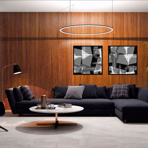 Conjunto com 02 quadros decorativos Geométrico Preto e Branco