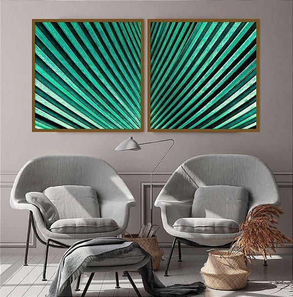 Conjunto com 02 quadros decorativos Folhas de Palmeira