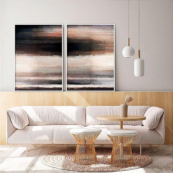 Conjunto com 02 quadros decorativos Abstrato Preto, Marrom e Cinza
