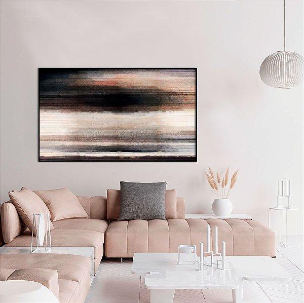 Quadro decorativo Abstrato Preto, Marrom e Cinza