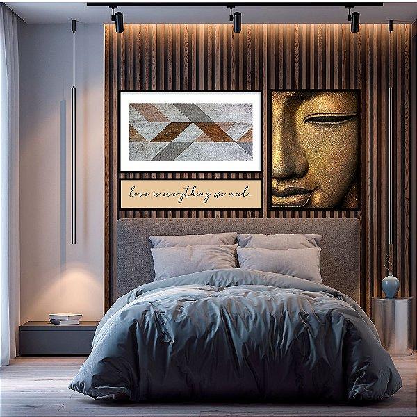 Conjunto com 03 quadros decorativos Buda