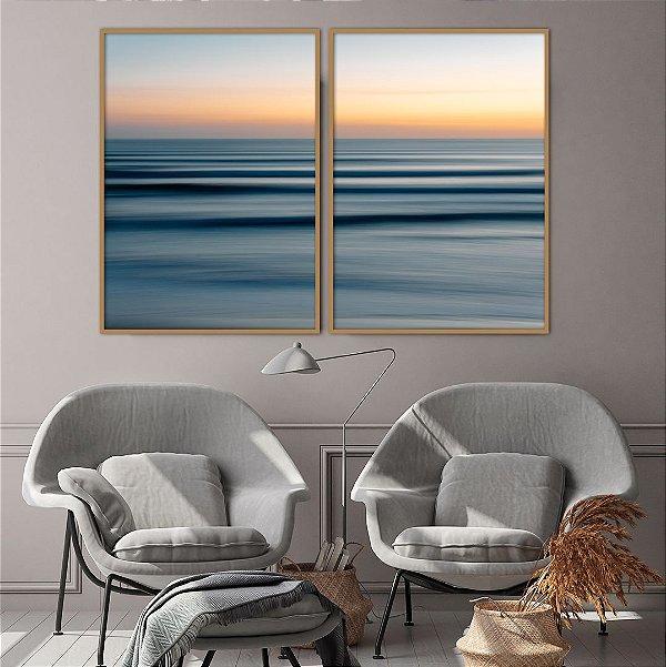Conjunto com 02 quadros decorativos Oceano