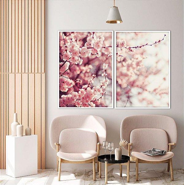 Conjunto com 02 quadros decorativos Galhos de Cerejeira