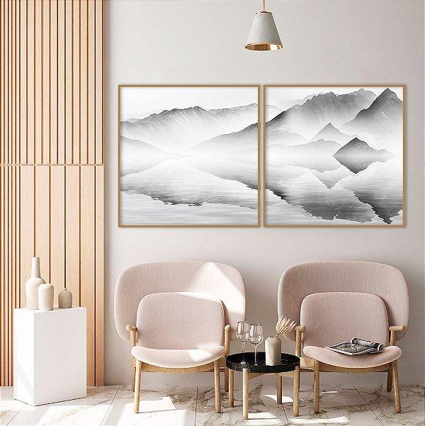 Conjunto com 02 quadros decorativos Montanhas