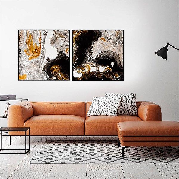 Conjunto com 02 quadros decorativos Abstrato Dourado, Cinza e Preto