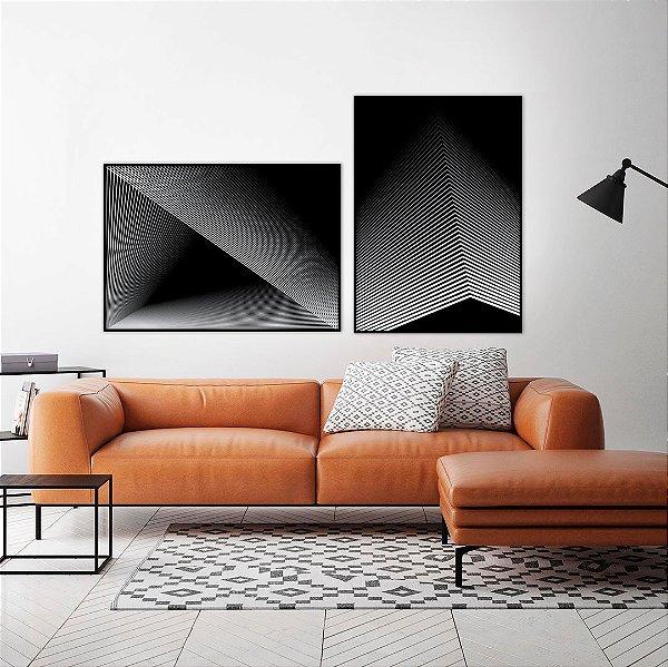 Conjunto com 02 quadros decorativos Geométricos em Preto e Branco