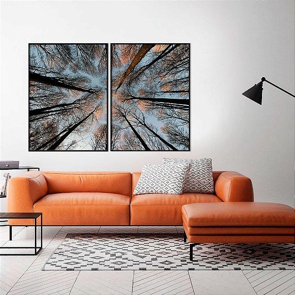 Conjunto com 02 quadros decorativos Árvores