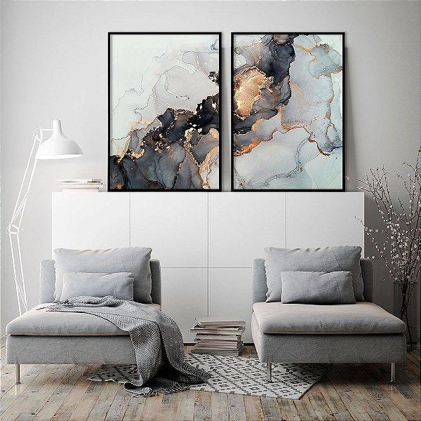 Conjunto com 02 quadros decorativos Abstrato Preto e Cobre