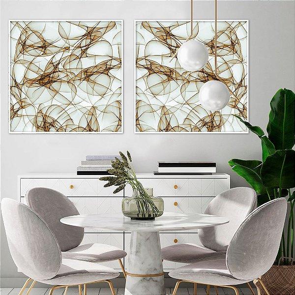 Conjunto com 02 quadros decorativos Abstrato Bege