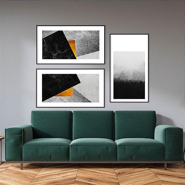 Conjunto com 03 quadros decorativos Geométricos e Paisagem