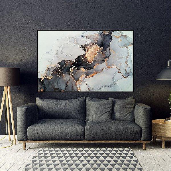 Quadro decorativo Abstrato Preto e Cobre