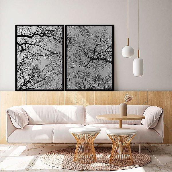 Conjunto com 02 quadros decorativos Galhos em Preto e Branco