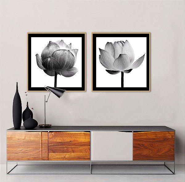 Conjunto com 02 quadros decorativos Flores em Preto e Branco