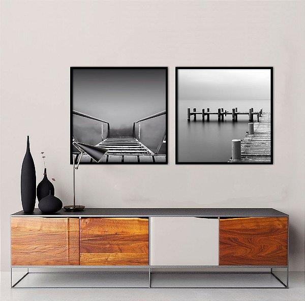 Conjunto com 02 quadros decorativos Mar Calmo
