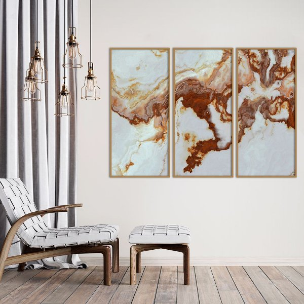 Conjunto com 03 quadros decorativos Marmorizado Cobre