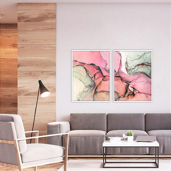 Conjunto com 02 quadros decorativos Abstrato Vermelho