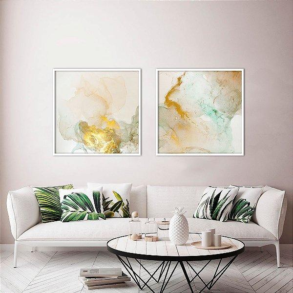 Conjunto com 02 quadros decorativos Abstrato Dourado