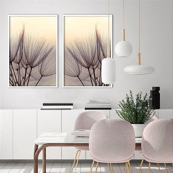 Conjunto com 02 quadros decorativos Dente-de-leão Delicado