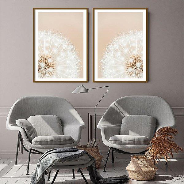 Conjunto com 02 quadros decorativos Dente-de-leão Tons Suaves