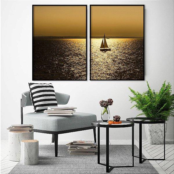 Conjunto com 02 quadros decorativos Mar Dourado