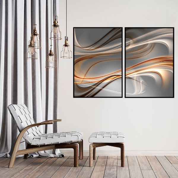 Conjunto com 02 quadros decorativos Formas Abstratas