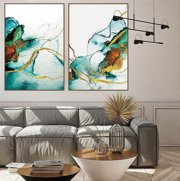 Conjunto com 02 quadros decorativos Abstrato Azul, Verde e Dourado