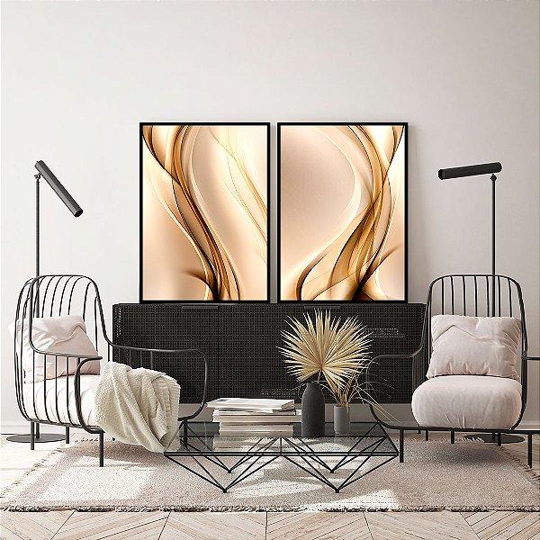 Conjunto com 02 quadros decorativos Abstrato Dourado e Bege