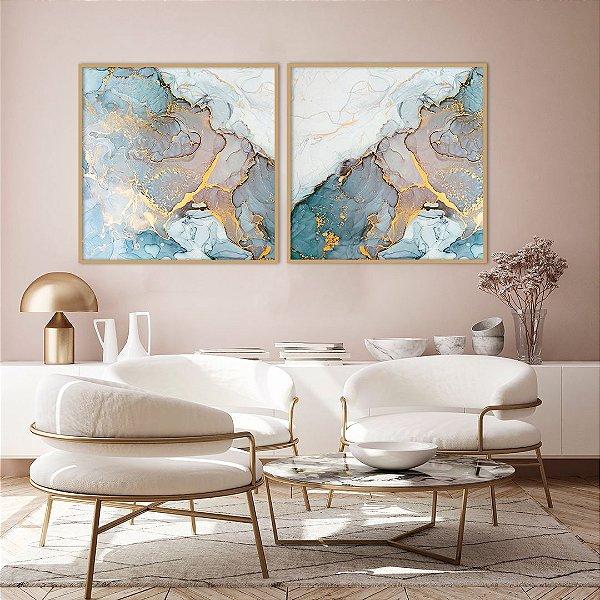 Conjunto com 02 quadros decorativos Abstrato Azul, Lilás e Dourado