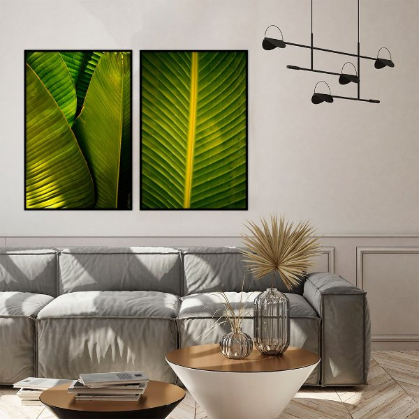 Conjunto com 02 quadros decorativos Folhas Tropicais