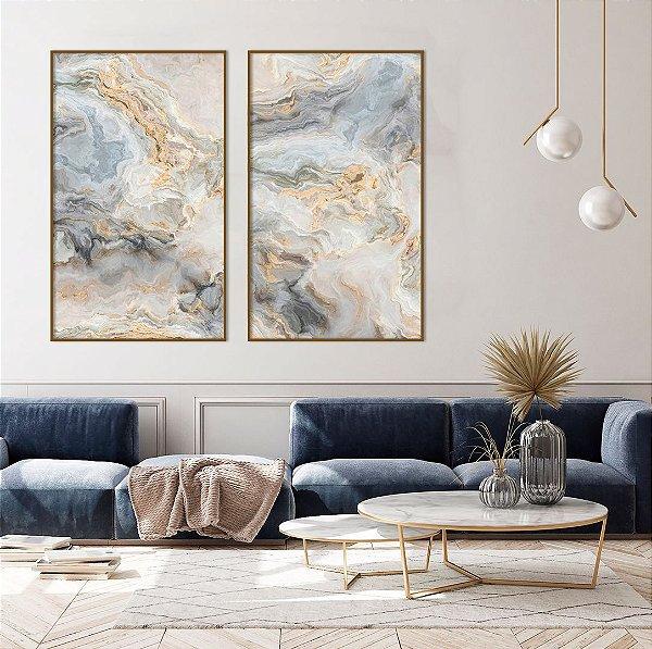 Conjunto com 02 quadros decorativos Marmorizado Azul e Bege