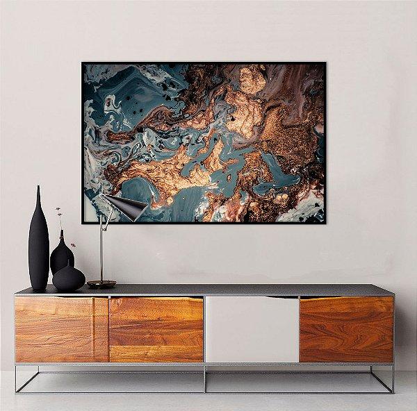 Quadro decorativo Abstrato Marrom, Azul e Cobre